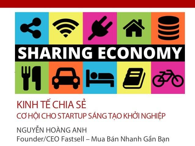 KINH TẾ CHIA SẺ CƠHỘICHOSTARTUPSÁNGTẠOKHỞINGHIỆP NGUYỄN HOÀNG ANH Founder/CEO Fastsell – Mua Bán Nhanh Gần Bạn