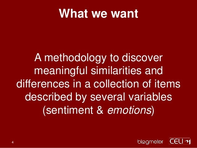 What we want A methodology to discover meaningful similarities and differences in a collection of items described by sever...