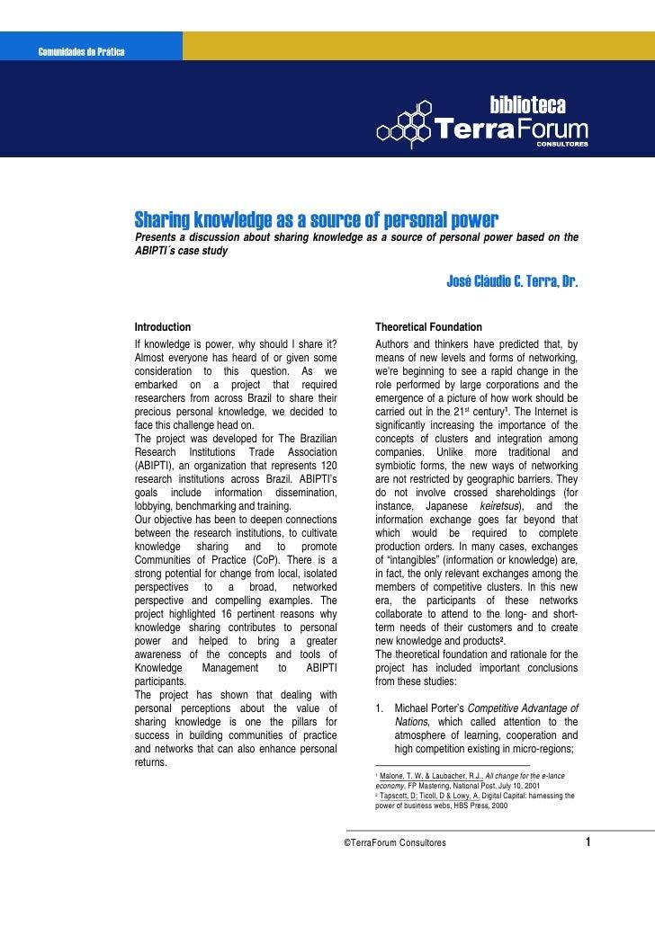 Comunidadesdo Conhecimento       Gestão de Prática                   Sharing knowledge as a source of personal power     w...