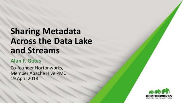 Sharing metadata across the data lake and streams