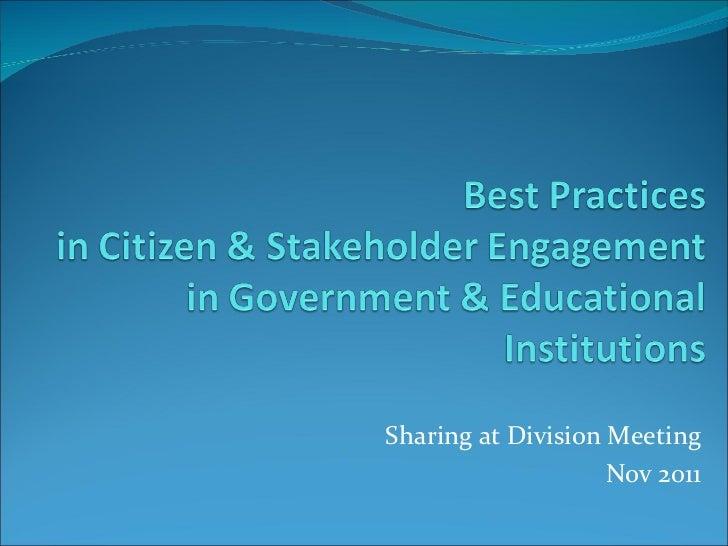Sharing at Division Meeting Nov 2011