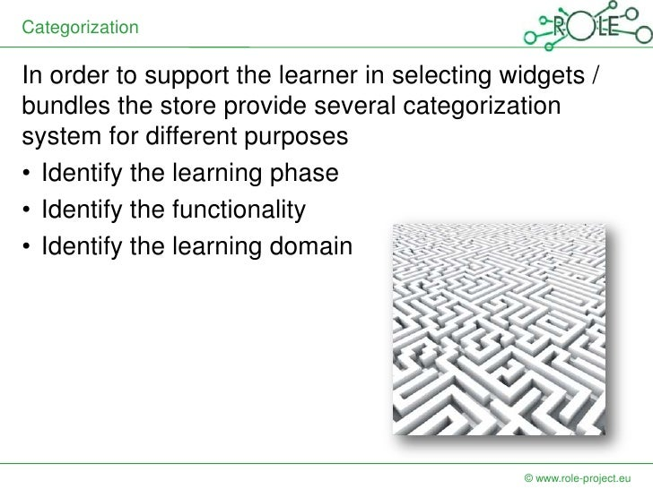 CategorizationIn order to support the learner in selecting widgets /bundles the store provide several categorizationsystem...