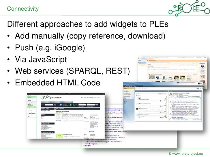 ConnectivityDifferent approaches to add widgets to PLEs• Add manually (copy reference, download)• Push (e.g. iGoogle)• Via...