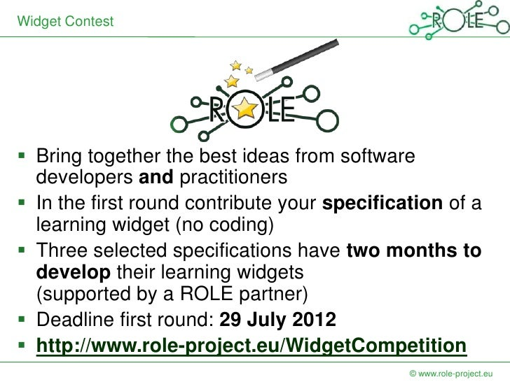 Widget Contest Bring together the best ideas from software  developers and practitioners In the first round contribute y...