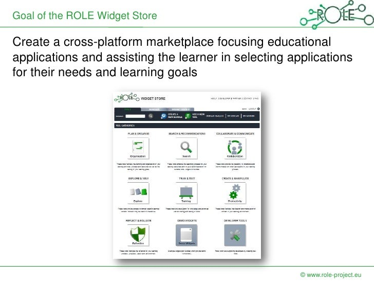 Goal of the ROLE Widget StoreCreate a cross-platform marketplace focusing educationalapplications and assisting the learne...