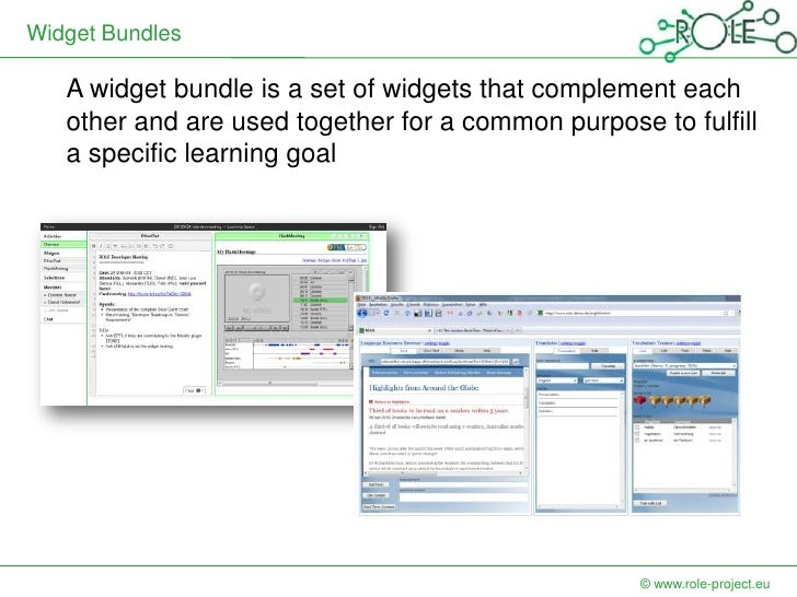 Widget Bundles   A widget bundle is a set of widgets that complement each   other and are used together for a common purpo...