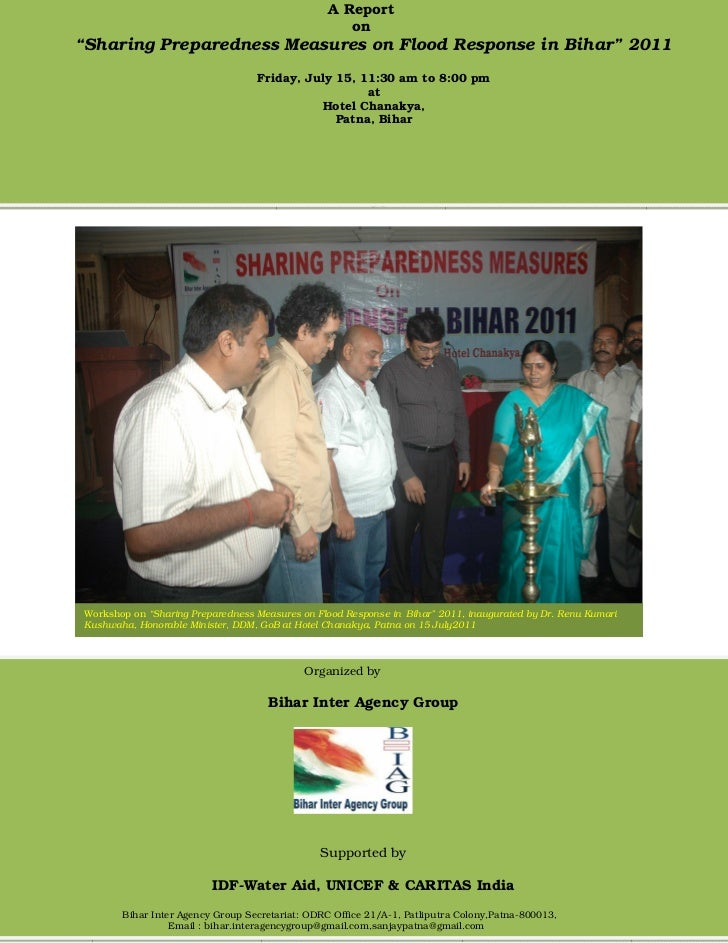 "A Report                                                    on""Sharing Preparedness Measures on Flood Response in Bihar"" 2..."