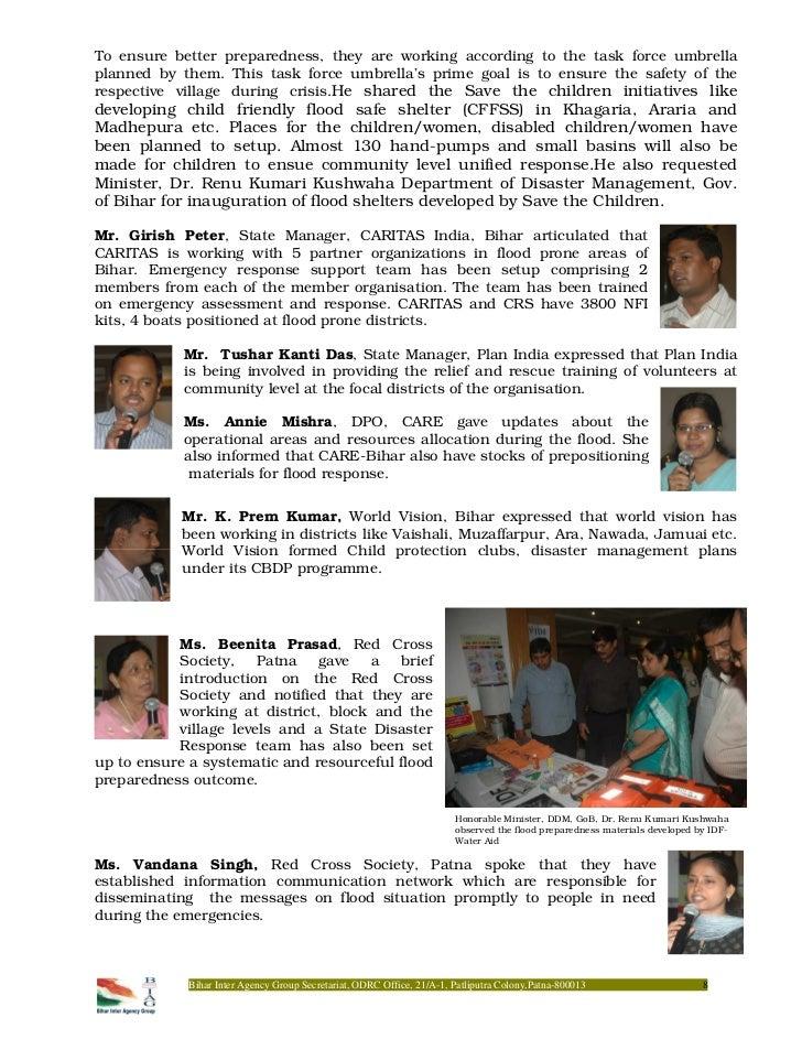 Sharing Preparedness Measures on Bihar Flood
