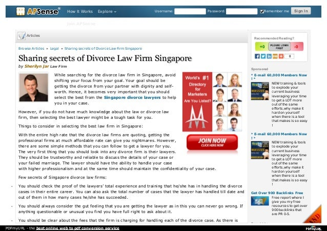 Sharing secrets of divorce law firm singapore username password remember me sign insign in 0 sponsored new training tools to divorce lawyers lawyers in singapore tags links more articles solutioingenieria Images