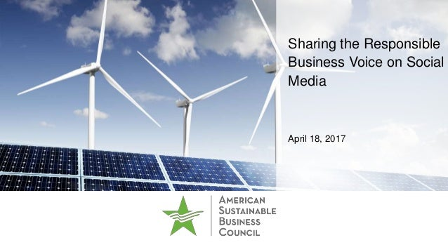 Sharing the Responsible Business Voice on Social Media April 18, 2017