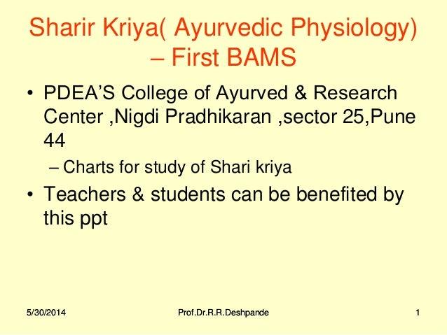 5/30/2014 Prof.Dr.R.R.Deshpande 15/30/2014 Prof.Dr.R.R.Deshpande 1 Sharir Kriya( Ayurvedic Physiology) – First BAMS • PDEA...
