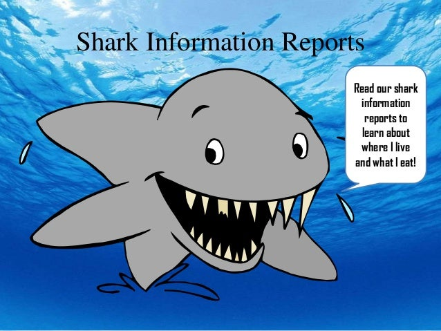 Shark Information ReportsRead our sharkinformationreports tolearn aboutwhere I liveand what I eat!