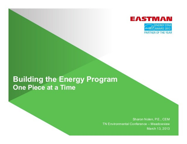 Building the Energy Program One Piece at a Time Sharon Nolen, P.E., CEM TN Environmental Conference – Meadowview March 13,...