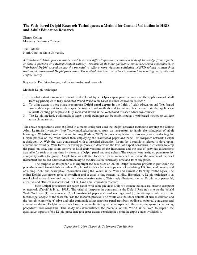 research methodology delphi technique essay