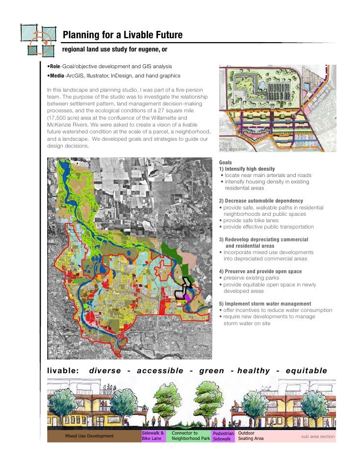 Planning for a Livable Future       regional land use study for eugene, or  •Role-Goal/objective development and GIS analy...