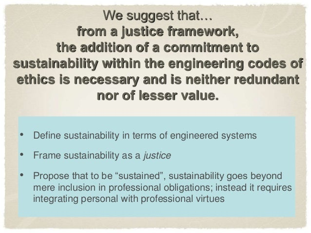Sustaining engineering: Codes of Ethics for the 21st Century