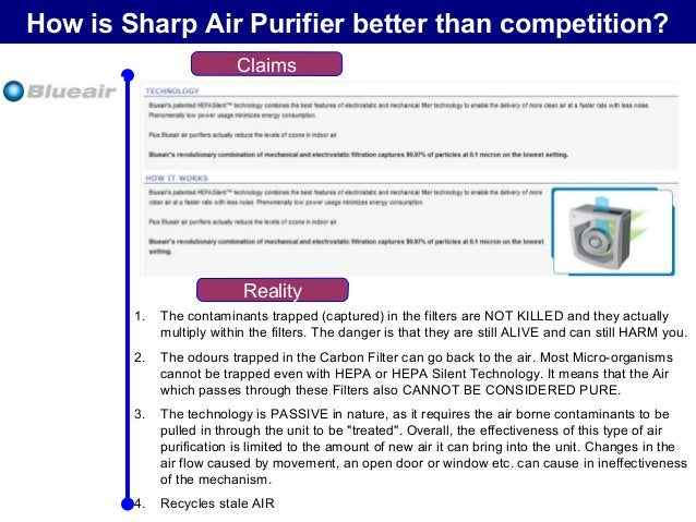 How is Sharp Air Purifier better than competition? Claims Reality Several stages of Filtration & UV (in some cases) 1. The...
