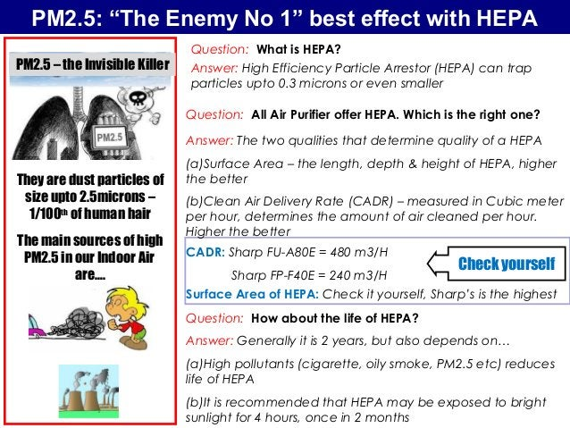 """PM2.5: """"The Enemy No 1"""" best effect with HEPA They are dust particles of size upto 2.5microns – 1/100th of human hair The ..."""