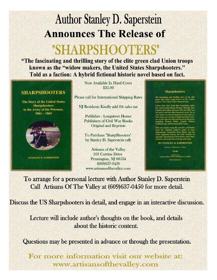 Sharpshooters                             By Stanley D. Saperstein      Chapter 1 Published with permission online at www....