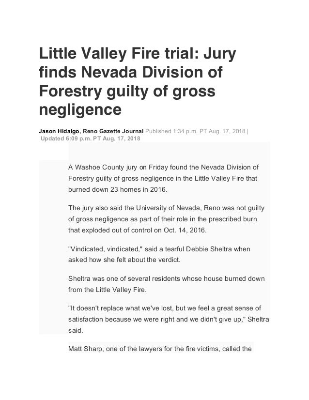 Little Valley Fire trial: Jury finds Nevada Division of Forestry guilty of gross negligence Jason Hidalgo, Reno Gazette Jou...