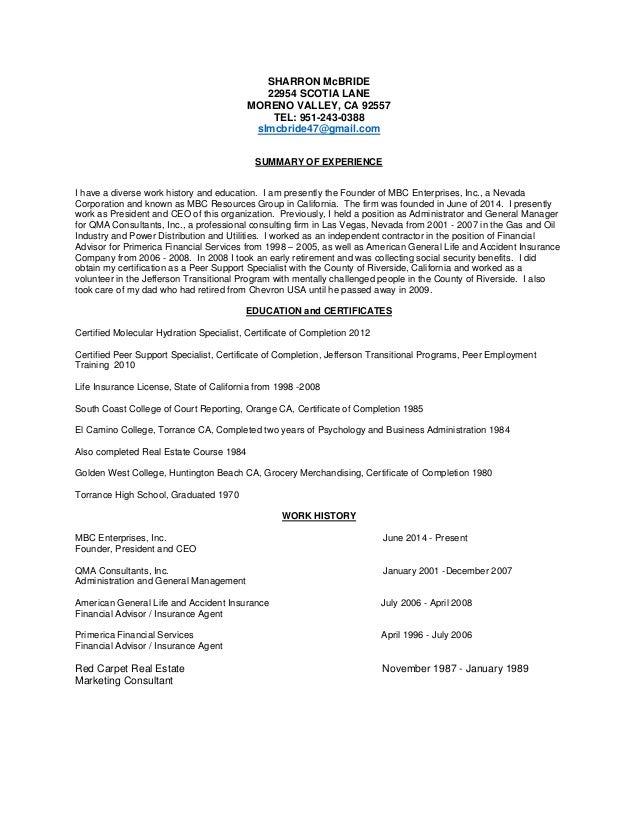 sharron mcbride resume
