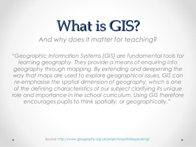 an introduction to the geographical information system gis A geography information system (gis) is the tool which enables the transformation of georeferenced data into vital information and practical knowledge the geographic information science traverses many other disciplines and fields.