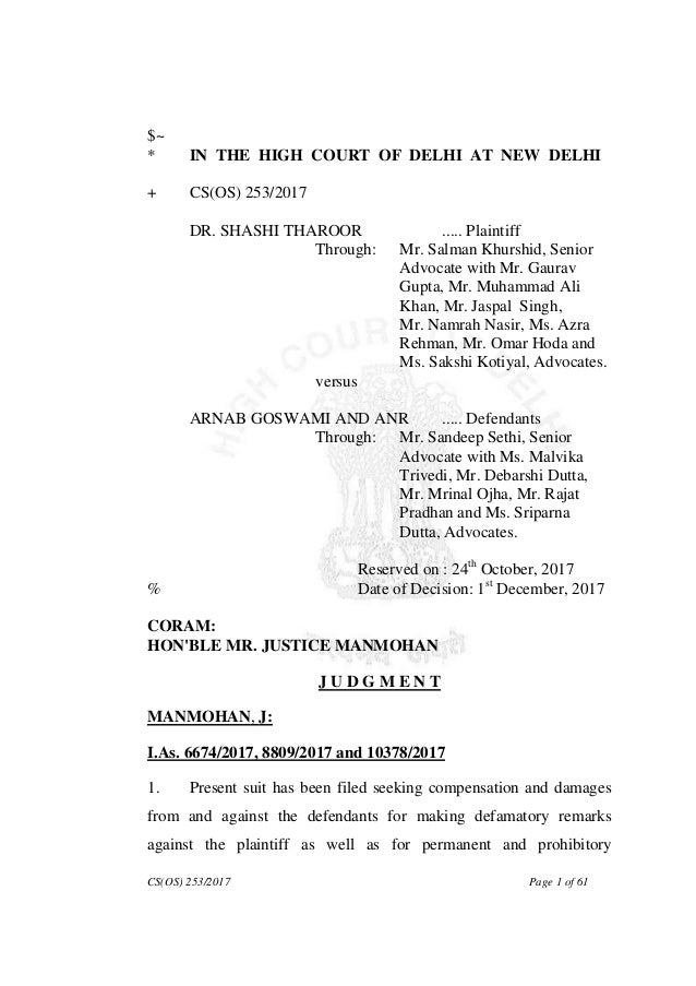 CS(OS) 253/2017 Page 1 of 61 $~ * IN THE HIGH COURT OF DELHI AT NEW DELHI + CS(OS) 253/2017 DR. SHASHI THAROOR ..... Plain...