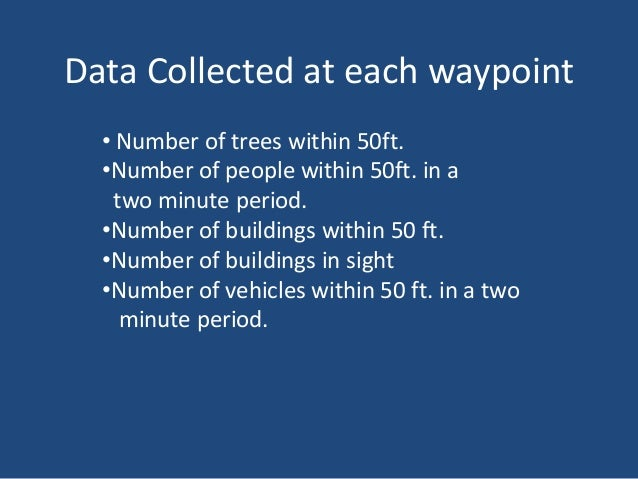 Data Collected at each waypoint • Number of trees within 50ft. •Number of people within 50ft. in a two minute period. •Num...
