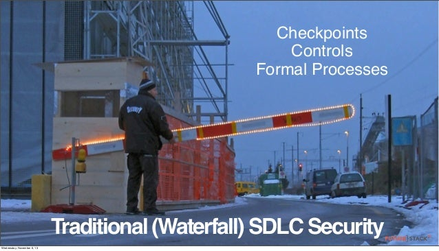 Checkpoints Controls Formal Processes  Traditional (Waterfall) SDLC Security Wednesday, November 6, 13