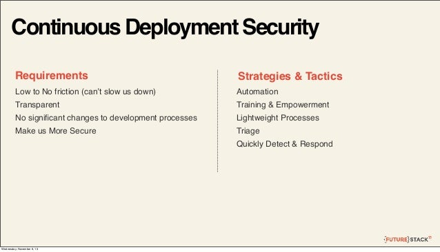 Continuous Deployment Security Requirements  Strategies & Tactics  Low to No friction (can't slow us down)  Automation  Tr...