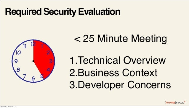 Required Security Evaluation  < 25 Minute Meeting 1.Technical Overview 2.Business Context 3.Developer Concerns Wednesday, ...