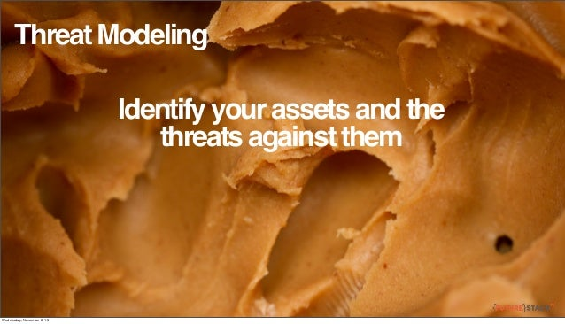 Threat Modeling Identify your assets and the threats against them  Wednesday, November 6, 13