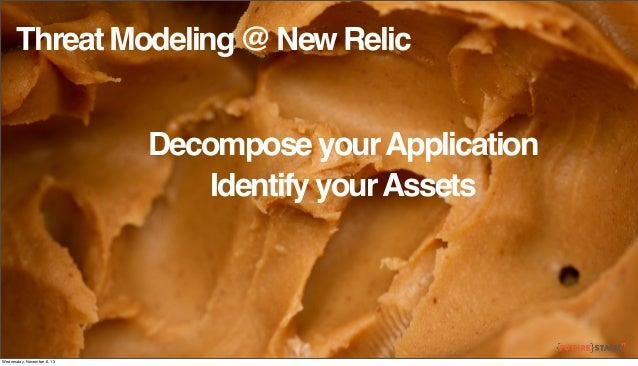 Threat Modeling @ New Relic Decompose your Application Identify your Assets  Wednesday, November 6, 13