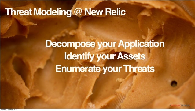 Threat Modeling @ New Relic Decompose your Application Identify your Assets Enumerate your Threats  Wednesday, November 6,...