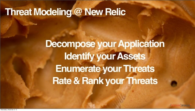 Threat Modeling @ New Relic Decompose your Application Identify your Assets Enumerate your Threats Rate & Rank your Threat...