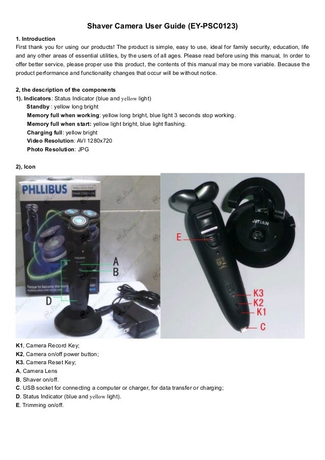 hd bathroom spy shaver camera user guide  ey psc0123