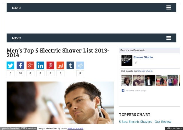 MENU  MENU  Men's Top 5 Electric Shaver List 2013-  2014  Find us on Facebook  Shaver Studio  Like  838 people like Shaver...