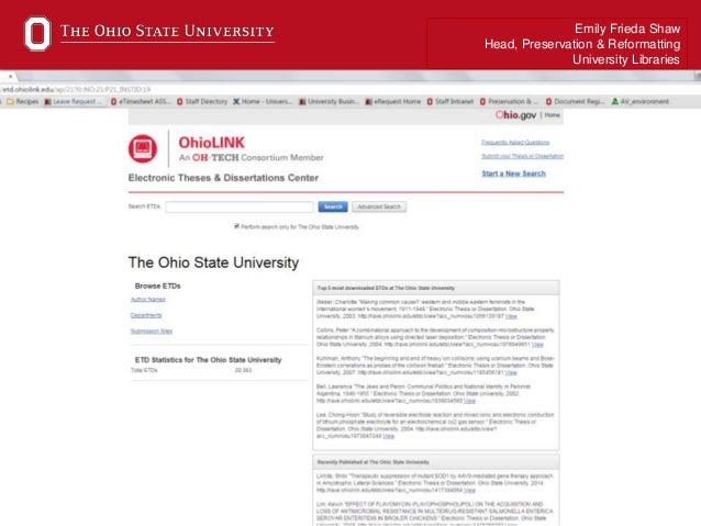 ohio university electronic theses and dissertation Access to ohio state dissertations and theses ohio state has agreements with two organizations, ohiolink and proquest/umi , that store and provide access to ohio state theses and dissertations ohiolink is ohio's state library network and includes a consortium of ohio colleges and universities.