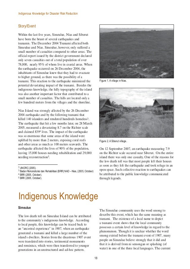 Indigenous knowledge for disaster risk reduction: Good