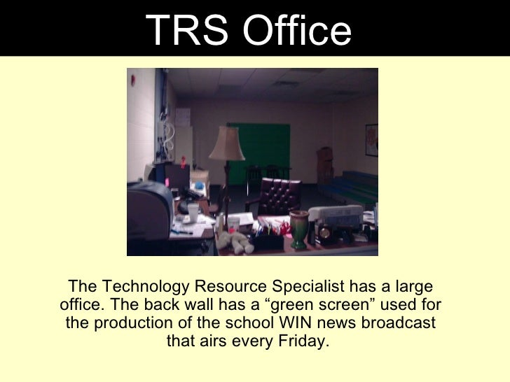 """The Technology Resource Specialist has a large office. The back wall has a """"green screen"""" used for the production of the s..."""