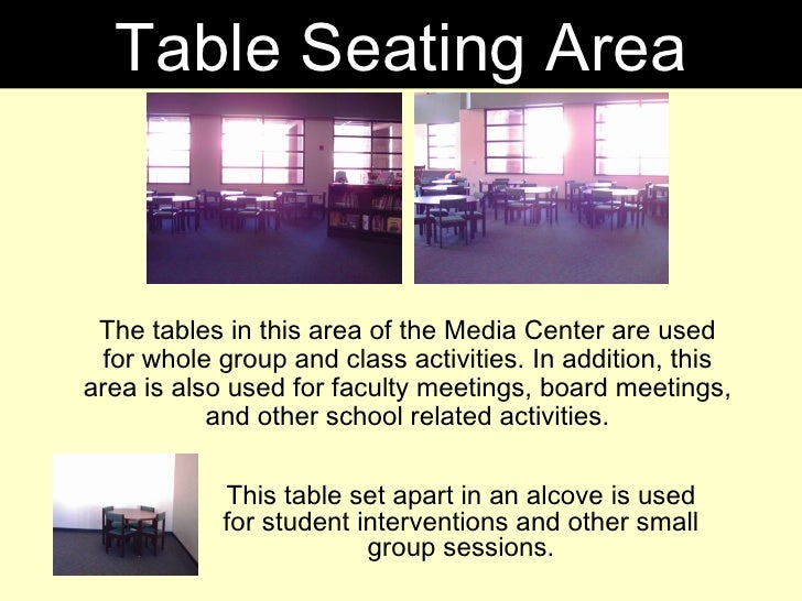 The tables in this area of the Media Center are used for whole group and class activities. In addition, this area is also ...