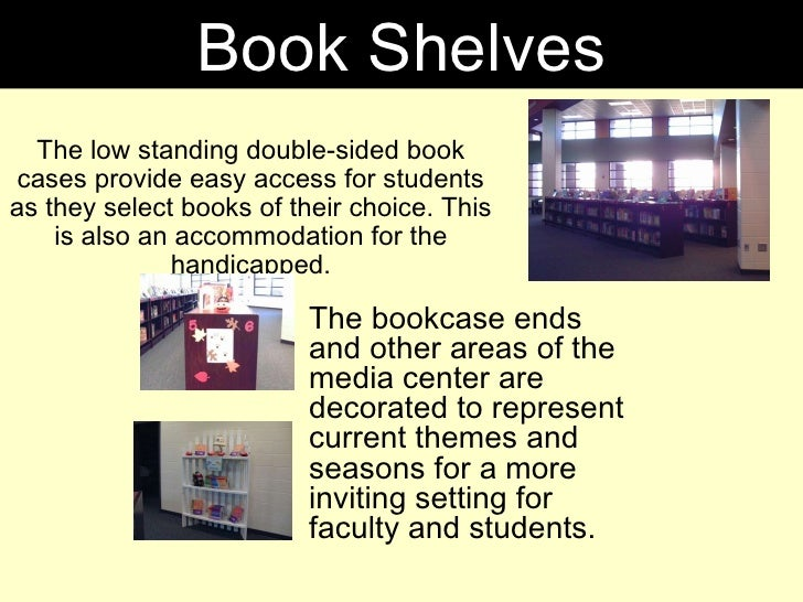 The low standing double-sided book cases provide easy access for students as they select books of their choice. This is al...