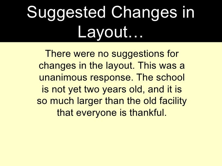Suggested Changes in Layout… There were no suggestions for changes in the layout. This was a unanimous response. The schoo...
