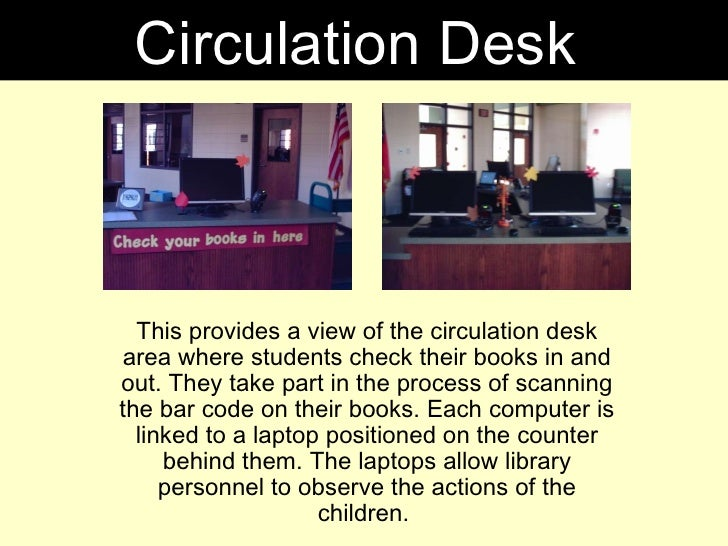 This provides a view of the circulation desk area where students check their books in and out. They take part in the proce...