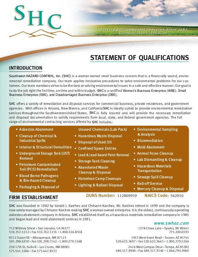 statement of qualifications introduction shc offers a variety of remediation and disposal services for commercial business - Statement Of Qualifications Samples