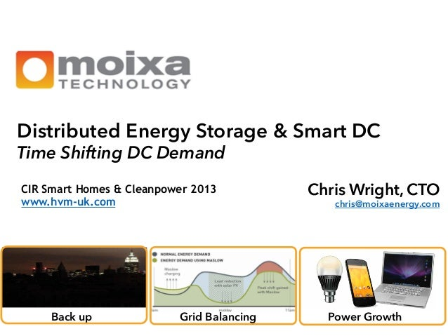 Distributed Energy Storage & Smart DC Time Shifting DC Demand CIR Smart Homes & Cleanpower 2013 www.hvm-uk.com     Back ...