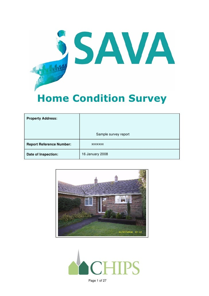 Home Condition SurveyProperty Address:                                   Sample survey reportReport Reference Number:     ...