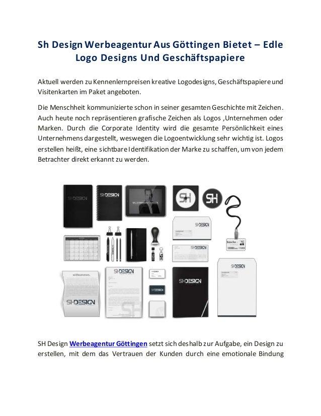 Sh Design Werbeagentur Aus Göttingen Bietet – Edle Logo Designs Und Geschäftspapiere Aktuell werden zu Kennenlernpreisen k...