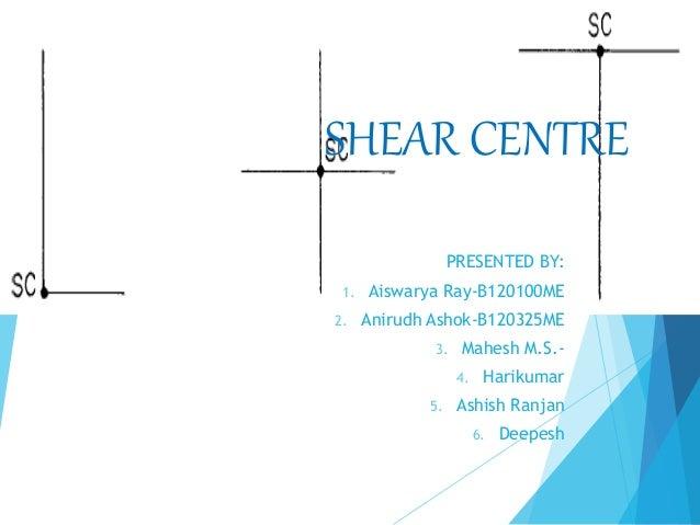 SHEAR CENTRE  PRESENTED BY:  1. Aiswarya Ray-B120100ME  2. Anirudh Ashok-B120325ME  3. Mahesh M.S.-  4. Harikumar  5. Ashi...