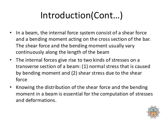 conclusion for shear force and bending Conclusion derivation of the beam  the ideas of bending moment and  shearing force, we find that a  bending moment or shear force ∂2y ∂t2 = −c2  ∂4y.